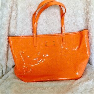 Kate spade orange polyvinyl tote bag heart design